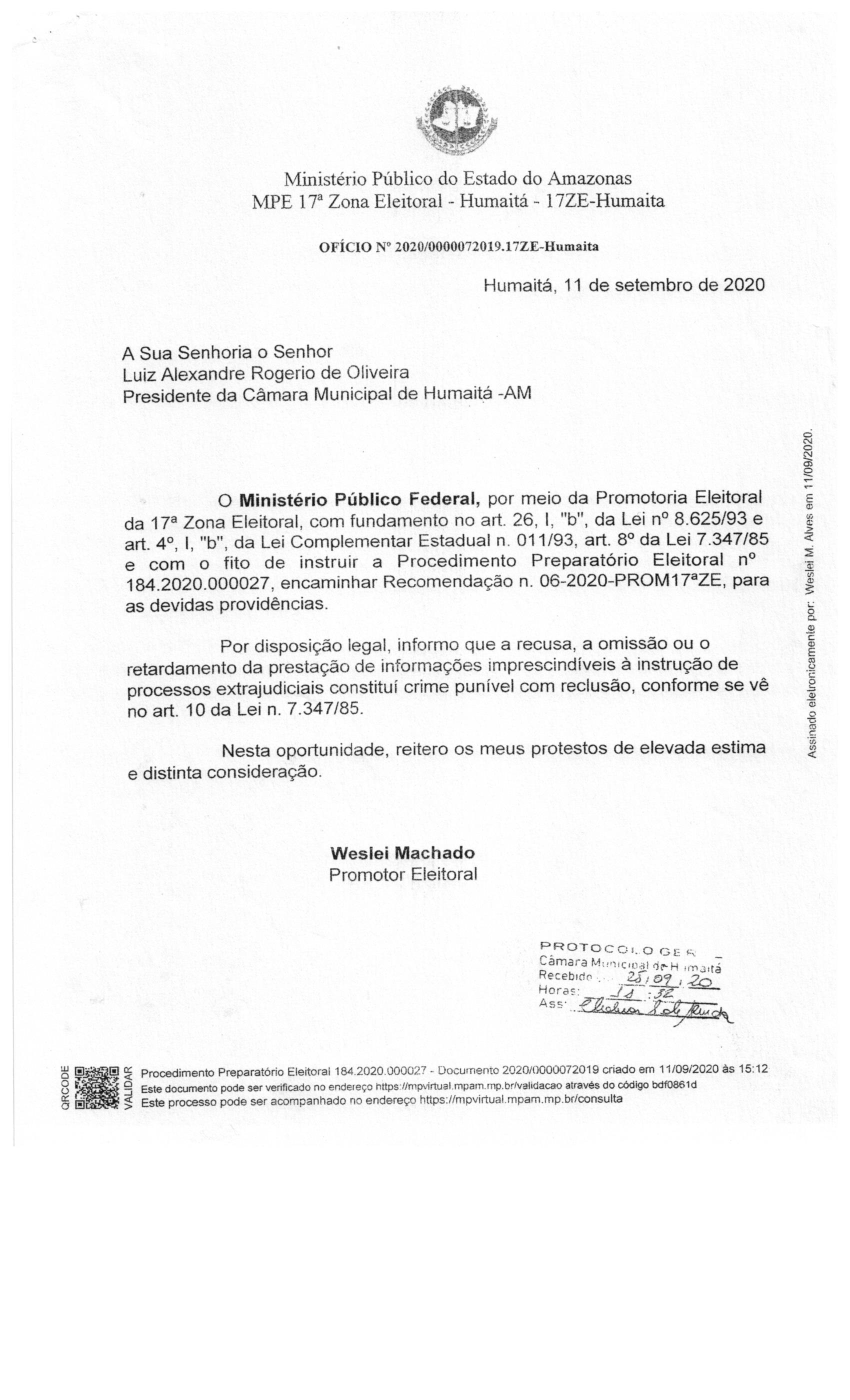 MINISTERIO PÚBLICO ENCAMINHA RECOMENDAÇÕES ELEITORAIS